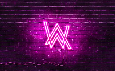 Alan Walker viola logo, 4k, superstar, viola brickwall, Alan Walker logo, Alan Olav Walker, Alan Walker neon logo, star della musica, Alan Walker