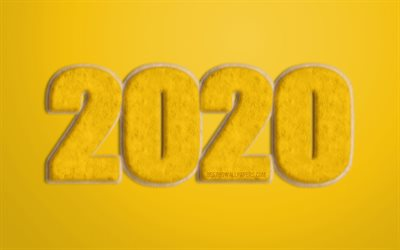 Yellow 2020 fur background, Yellow fur letters, 2020 Yellow Background, Happy New Year 2020, 2020 fur art, 2020 concepts, 2020 New Year