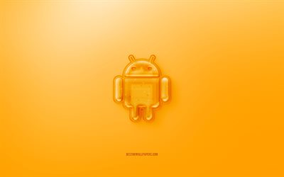 Android 3D logo, Yellow background, Yellow Android jelly logo, Android emblem, creative 3D art, Android