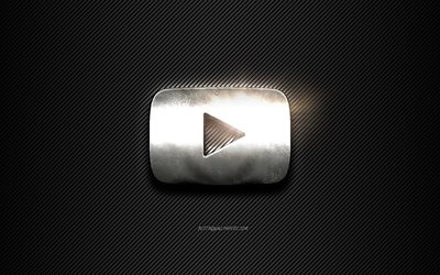 YouTube Metal logo, black lines background, black carbon background, YouTube logo, emblem, metal art, YouTube, Silver YouTube button