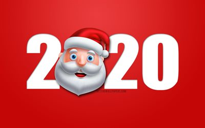 2020 background with Santa Claus, 2020 red christmas background, Happy New Year 2020, 2020 concepts, 2020 New Year, 2020 Santa Claus