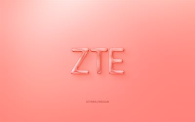 ZTE 3D logo, Red background, ZTE jelly logo, ZTE emblem, creative 3D art, ZTE