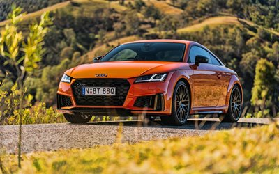 4k, Audi TTS Coupe, HDR, 2019 cars, supercars, orange Audi TT, 2019 Audi TTS Coupe, german cars, Audi