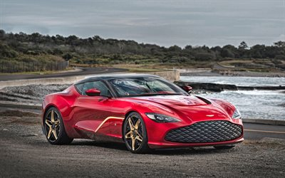 2020, Aston Martin DBS GT Zagato, 4k, exterior, front view, red sports coupe, New Red DBS GT Zagato, British Luxury Sports Car, Aston Martin