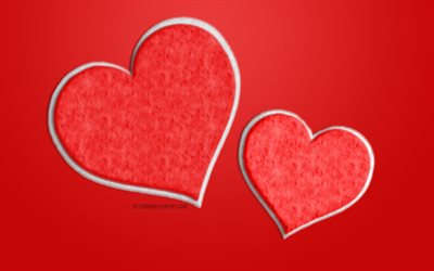 Two red fur hearts, red background with two hearts, love concepts, red romantic background, red hearts