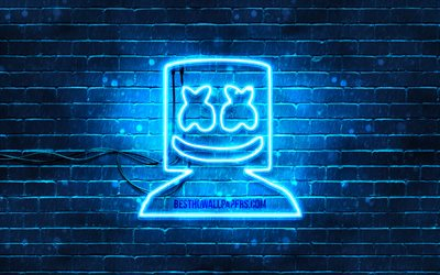 Marshmello, blue brickwall, 4k, music stars, Christopher Comstock, blue neon signs, Marshmello 4K, Blue neon Marshmello, music brands, DJ Marshmello