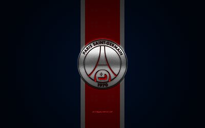 PSG, French football club, Paris Saint-Germain, Ligue 1, Blue logo, Blue carbon fiber background, Paris Saint-Germain logo, football, Paris, France, PSG logo