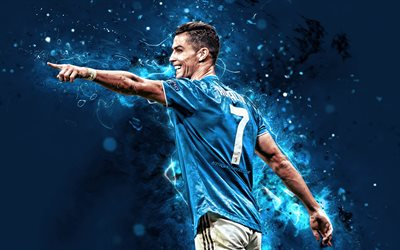 4k, Cristiano Ronaldo, Juventus FC, CR7, blue uniform, portuguese footballers, back view, Italy, CR7 Juve, Bianconeri, football stars, Serie A, neon lights, soccer, Ronaldo