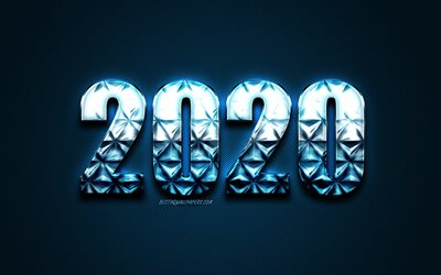 2020 Blue Background, Happy New Year 2020, blue creative letters, 2020 concepts, blue carbon texture, 2020 metal background