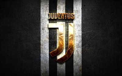 Juventus FC, golden logo, Serie A, black metal background, football, Juventus, italian football club, Juventus logo, soccer, Italy, Juve, Bianconeri
