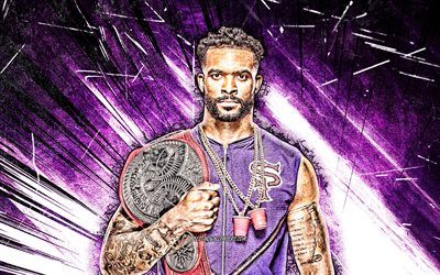 4k, Montez Ford, grunge art, american wrestler, WWE, violet abstract rays, Kenneth Crawford, wrestling, Montez Ford with belt, wrestlers, Montez Ford 4K