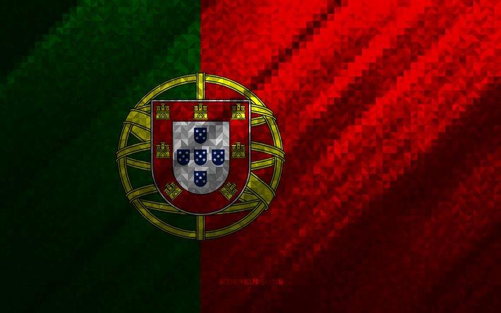 Download Wallpapers Flag Of Portugal Multicolored Abstraction Portugal Mosaic Flag Portugal Mosaic Art Portugal Flag For Desktop Free Pictures For Desktop Free