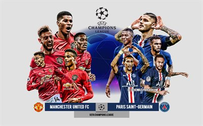 Manchester United FC vs PSG, Group H, UEFA Champions League, Preview, promotional materials, football players, Champions League, football match, Manchester United FC, PSG