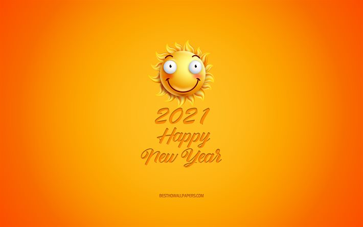 2021 New Year, yellow 3D sun, 2021 Sun background, Happy New Year 2021, 3D art, 2021 concepts