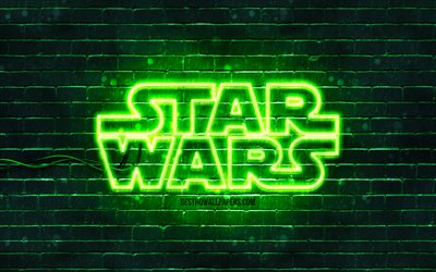 Star Wars green logo, 4k, green brickwall, Star Wars logo, creative, Star Wars neon logo, Star Wars