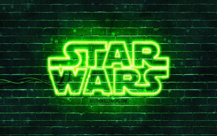 Download Wallpapers Star Wars Green Logo 4k Green Brickwall Star Wars Logo Creative Star Wars Neon Logo Star Wars For Desktop Free Pictures For Desktop Free
