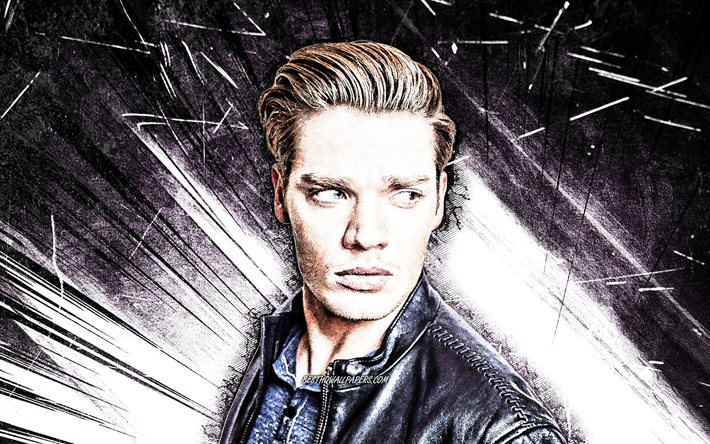 4k, Dominic Sherwood, grunge art, british actor, movie stars, Dominic Anthony Sherwood, british celebrity, violet abstract rays, Dom Sherwood
