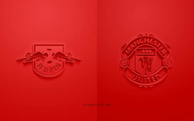 RB Leipzig vs Manchester United FC, UEFA Champions League, Group H, 3D logos, red background, Champions League, football match, RB Leipzig, Manchester United FC