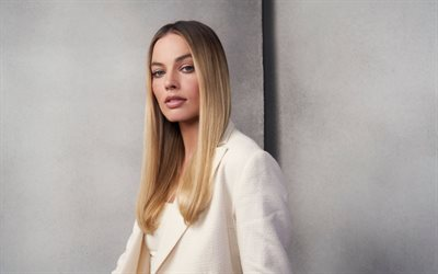 Margot Robbie, australian actress, portrait, white jacket, popular actresses, photoshoot