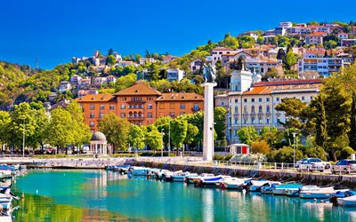 Rijeka, summer, Adriatic sea, resorts, Rijeka cityscape, Croatian resorts, Croatia