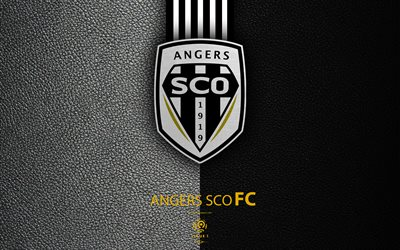 Angers SCO, 4K, French football club, Ligue 1, leather texture, logo, emblem, Angers, France, football, Angers FC