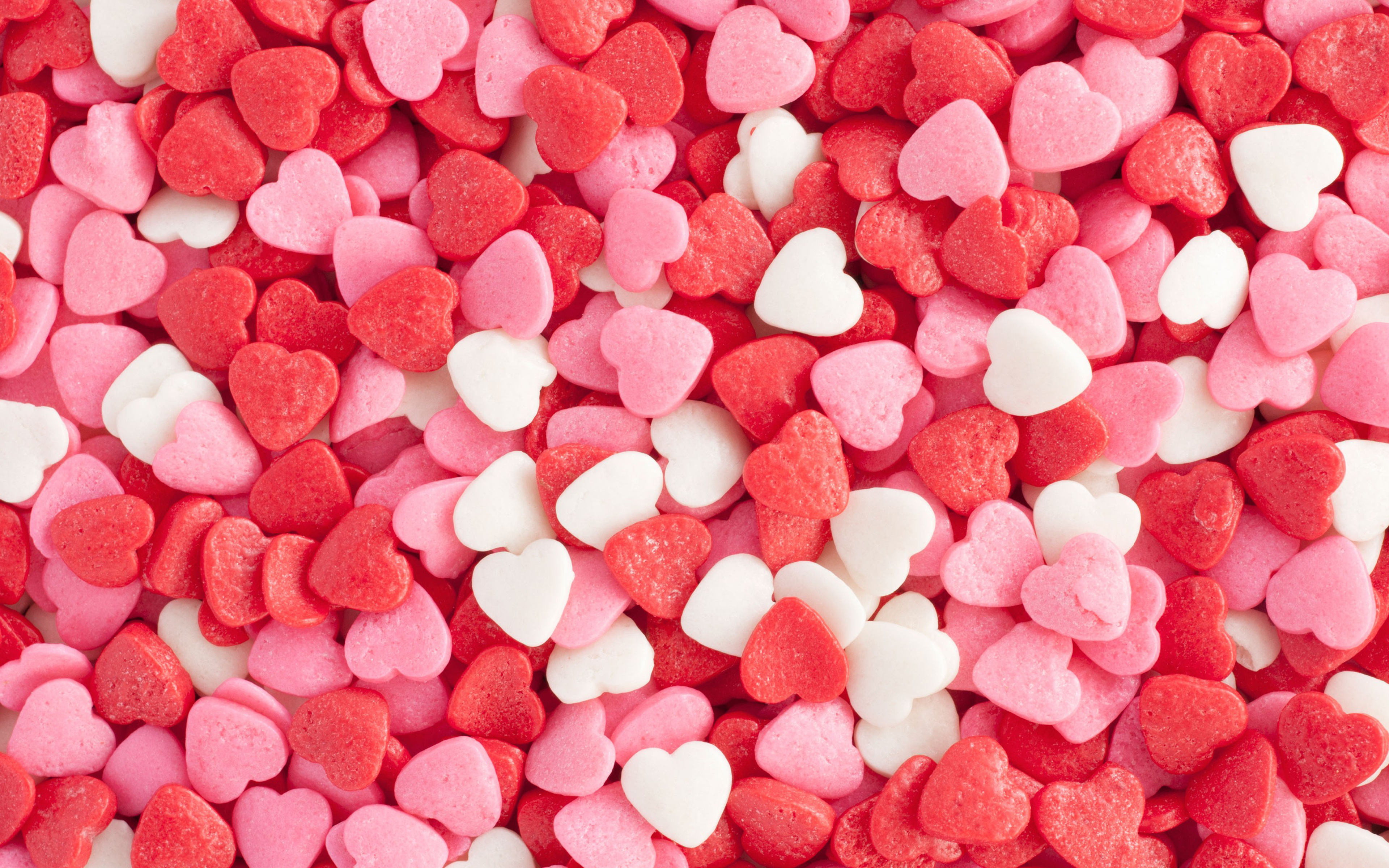 Download Wallpapers Hearts, Candy, 4k, Sweets, Love
