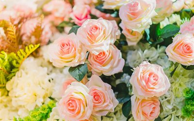 pink roses, beautiful flowers, roses, bouquets of roses