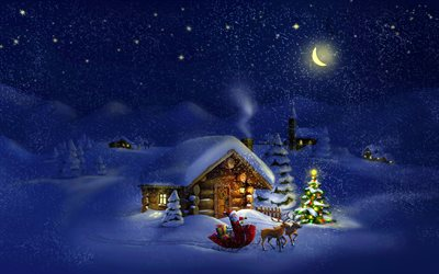winter, Christmas, night, house in the mountains, Santa Claus, sleigh, deer, Christmas tree, New Year