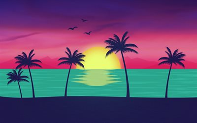 beach, 4k, sunset, palms, creative, material design, abstract material