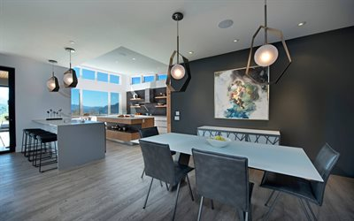 country villa, modern interior, gray tone, dining kitchen, modern design, kitchen
