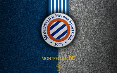 Montpellier FC, FC, 4K, il club di calcio inglese, Lega 1, in pelle, texture, logo, stemma, Montpellier, France football, Montpellier HSC