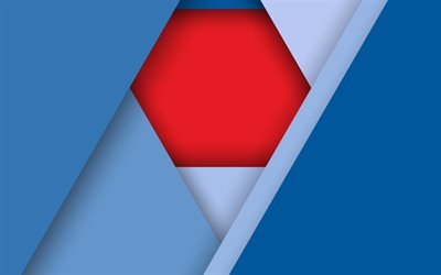 4k, geometric shapes, polygons, creative, material design, blue background, abstract material