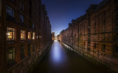 Hamburg, Germany, evening, sunset, channels, old houses, German city