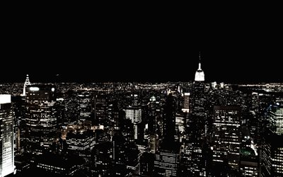 New York, 4k, Manhattan, panorama, nightscapes, modern buildings, NYC, USA, America