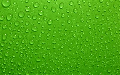 4k, water drops, green background, spray, drops texture, water