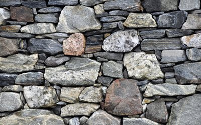 stone wall, gray stones, texture of stones, gray background