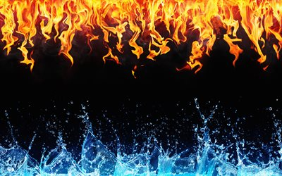 4k, fire and water, frame, creative, artwork, fire vs water, black background