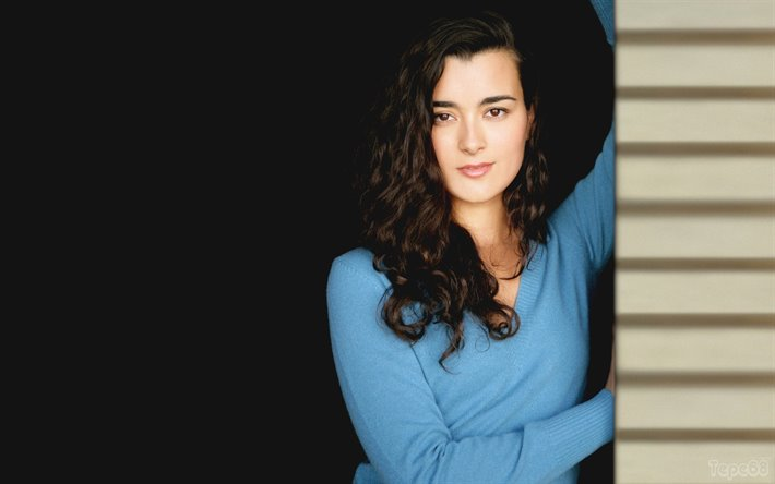 Cote de Pablo, portrait, american actress, blue dress, photoshoot, popular actresses