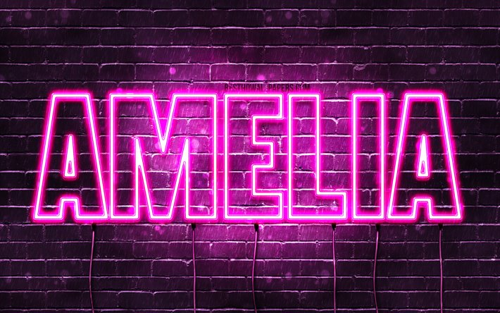 Amelia, 4k, wallpapers with names, female names, Amelia name, purple neon lights, horizontal text, picture with Amelia name