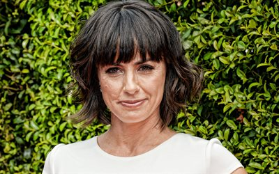 Constance Zimmer, american actress, portrait, smile, popular actresses, photoshoot, white dress