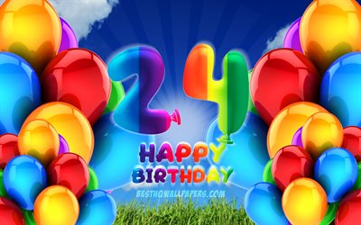 4k, Happy 24 Years Birthday, cloudy sky background, Birthday Party, colorful ballons, Happy 24th birthday, artwork, 24th Birthday, Birthday concept, 24th Birthday Party