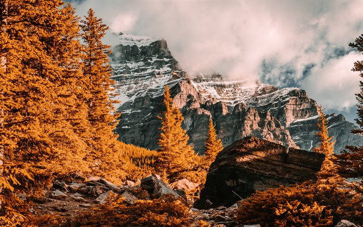 autumn landscape, mountain landscape, autumn, rocks, yellow trees, forest, clouds
