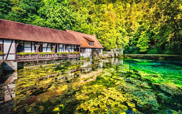 Blaubeuren, german cities, summer, lake, Germany, Europe, HDR