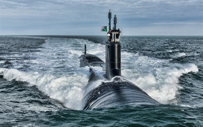 USS Washington, 4k, SSN-787, american attack submarine, United States Navy, US army, submarines, US Navy, Virginia-class, HDR