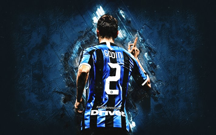Diego Godin, FC Internazionale, Uruguayan football player, blue stone background, Inter Milan, football, Serie A, Godin Inter