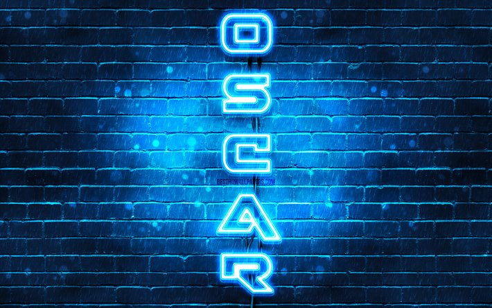 4K, Oscar, vertical text, Oscar name, wallpapers with names, blue neon lights, picture with Oscar name