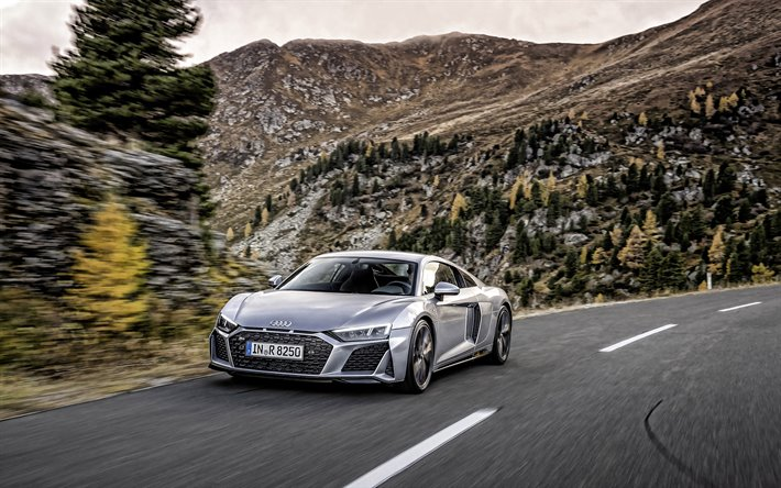Audi R8 RWD, 2020, 4k, exterior, silver sports coupe, front view, new silver R8 RWD, German sports cars, Audi
