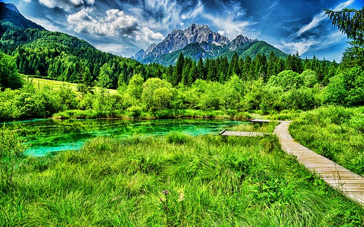 Lake Zelenci, HDR, Kranjska Gora, Planica Valley, beautiful nature, Slovenia, Europe, mountains, summer