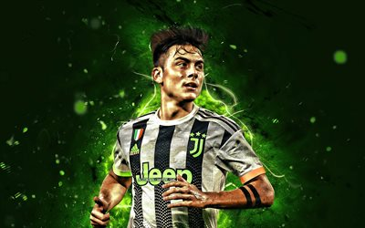 Paulo Dybala, green neon lights, Bianconeri, 2019, Juventus FC, football stars, argentinian footballers, new uniform, Dybala, soccer, Serie A, Italy, Juve