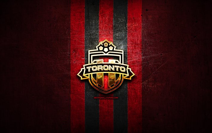 Toronto FC, golden logo, MLS, red metal background, canadian soccer club, FC Toronto, United Soccer League, Toronto FC logo, soccer, USA